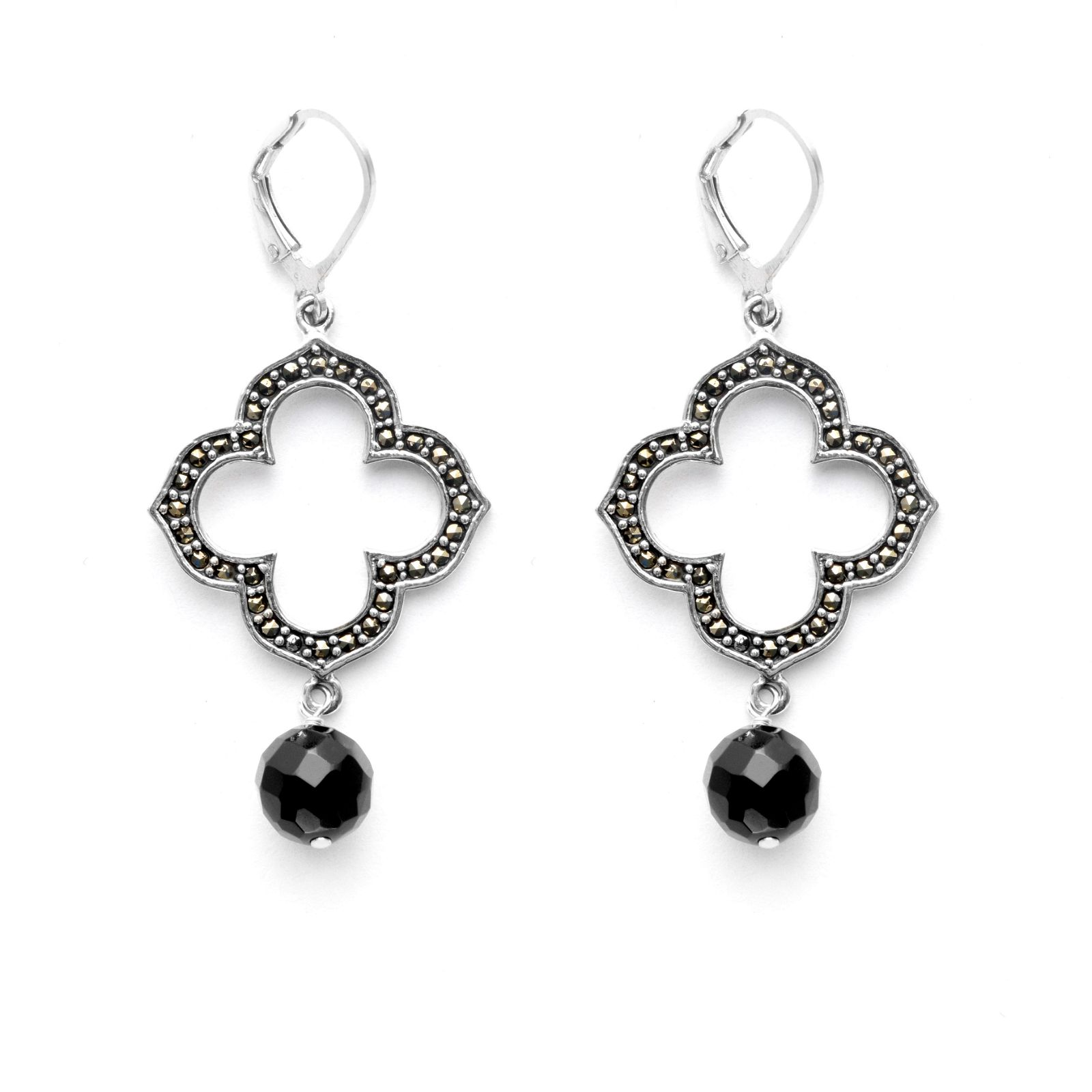 Silver Marcasite & Black Onyx Drop Earrings