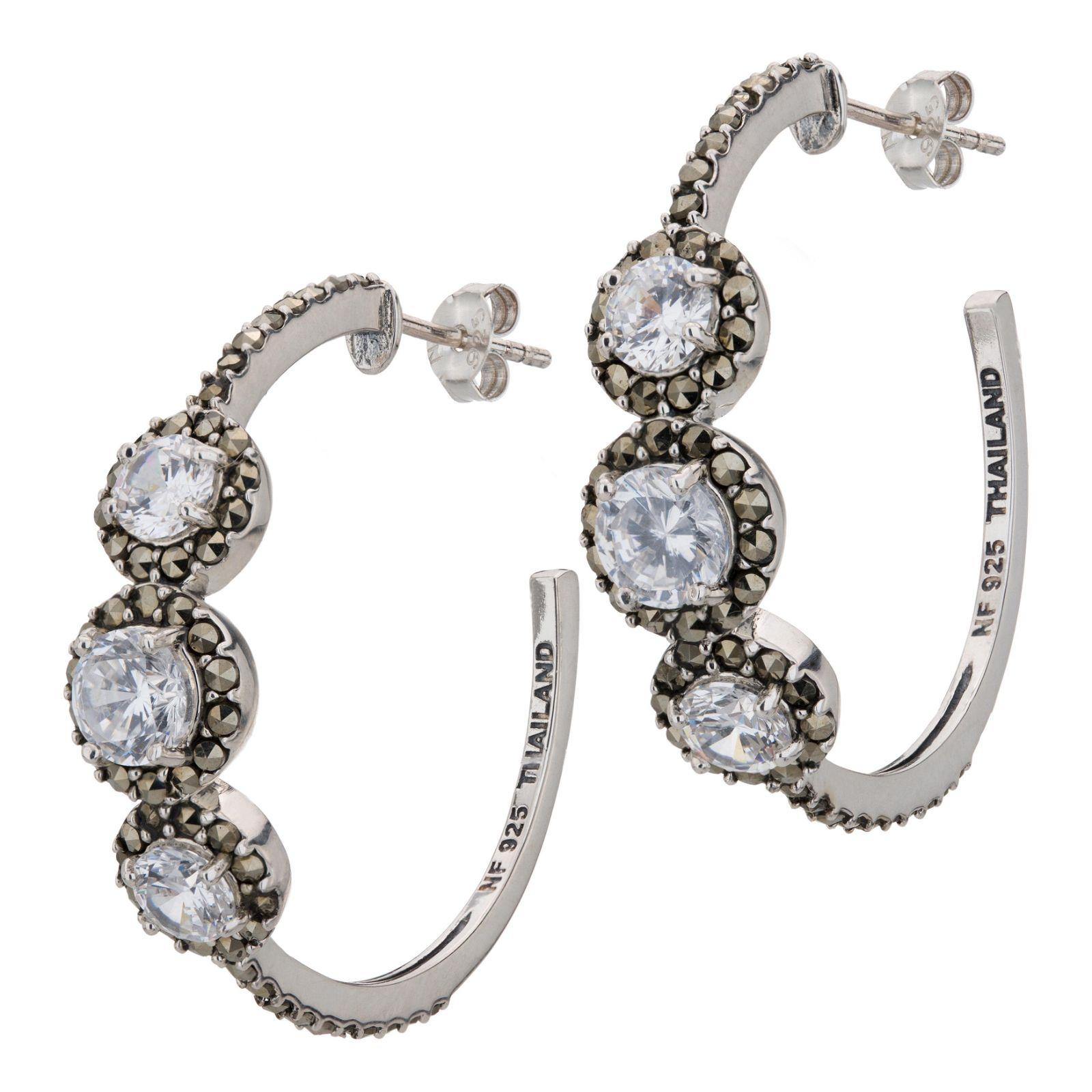 Sterling Silver Marcasite Hoop Earrings