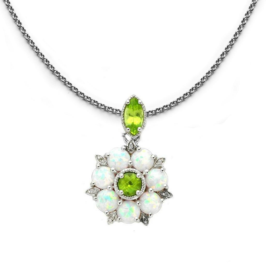 Silver Ethiopian Opal, Topaz & Peridot Pendant