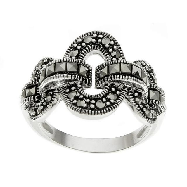 Sterling Silver 3 Circle Marcasite Ring-SZ 5