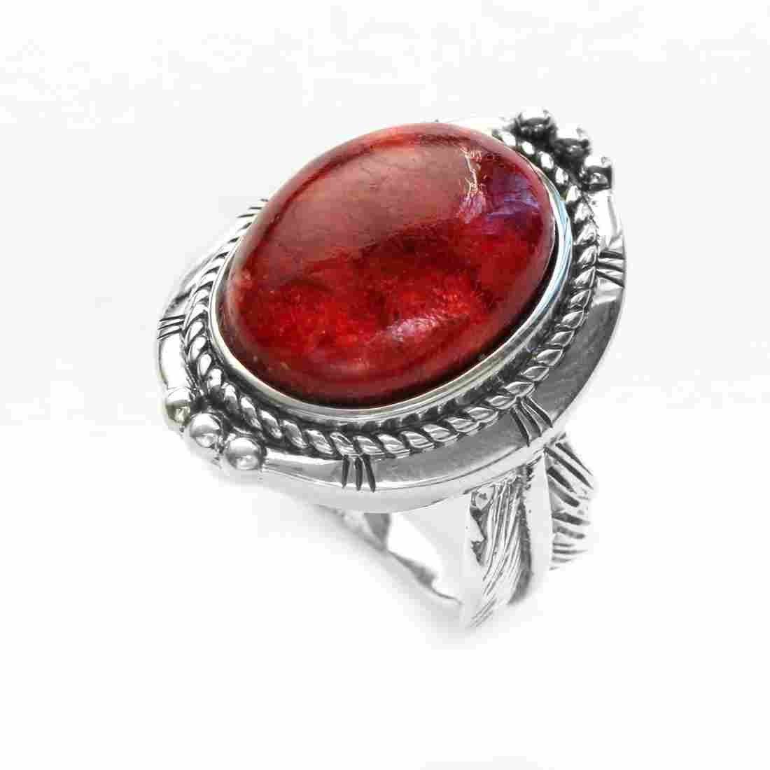 Silver Oval Red Coral Leaf Detailed Ring-SZ 10
