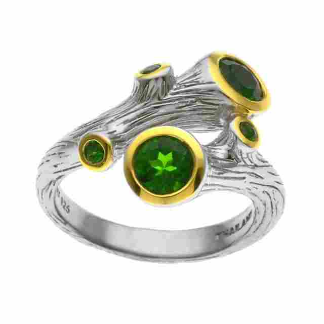 Silver Chrome Diopside Branch Bypass Ring-SZ 7