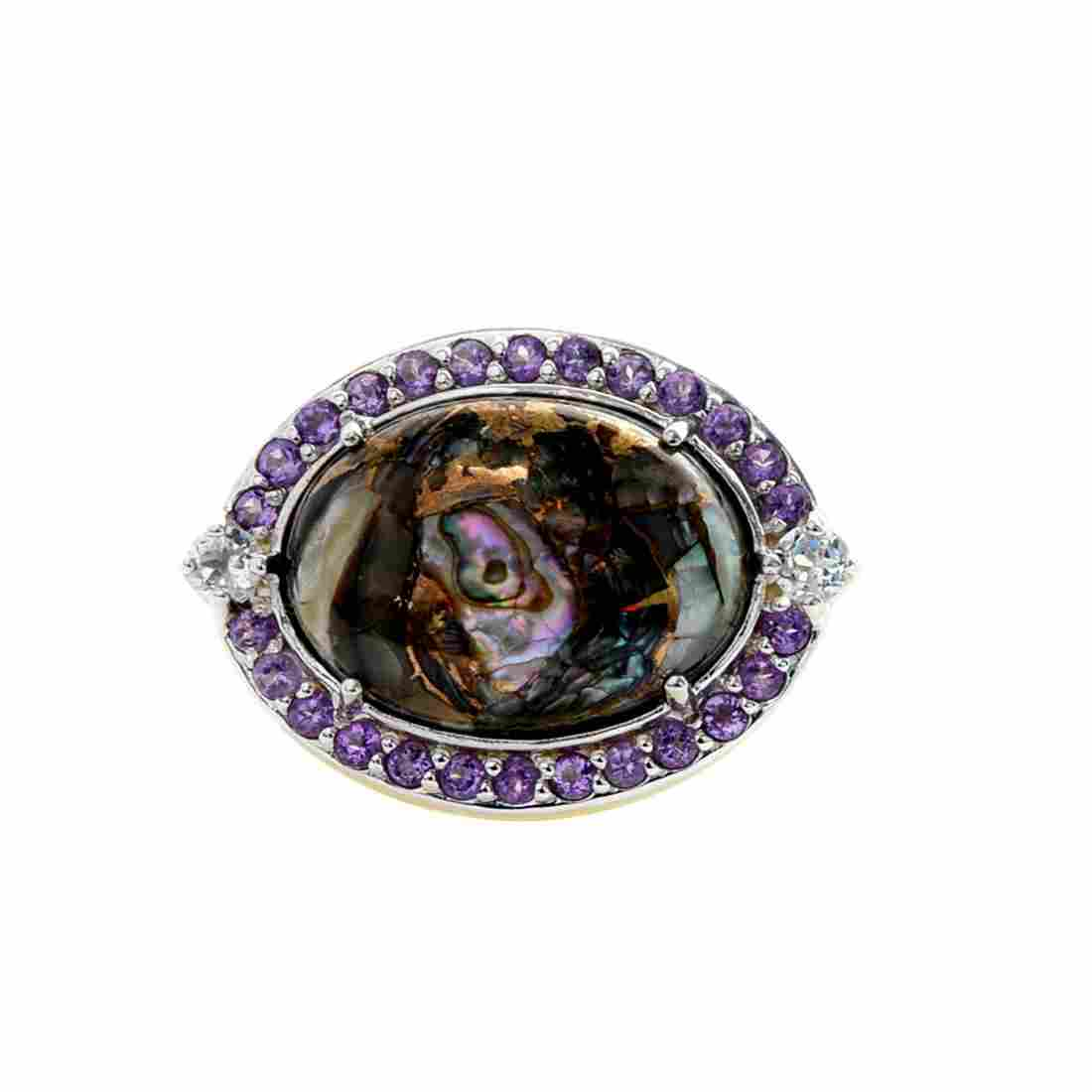 Silver Bronze Abalone East-West Halo Ring-SZ 9