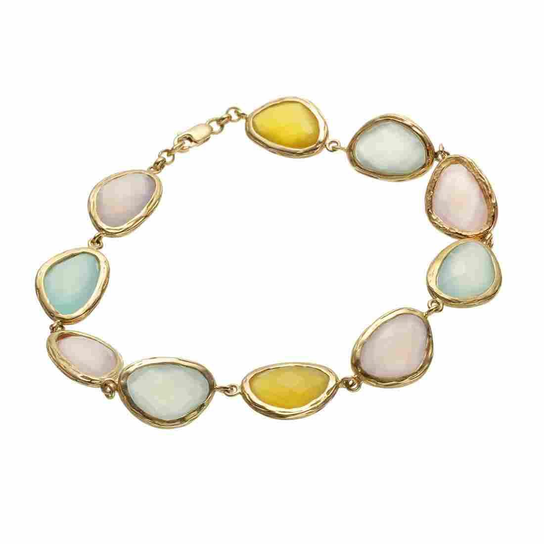 "14K Gold Vermeil Multi Chalcedony Bracelet 8.5"""