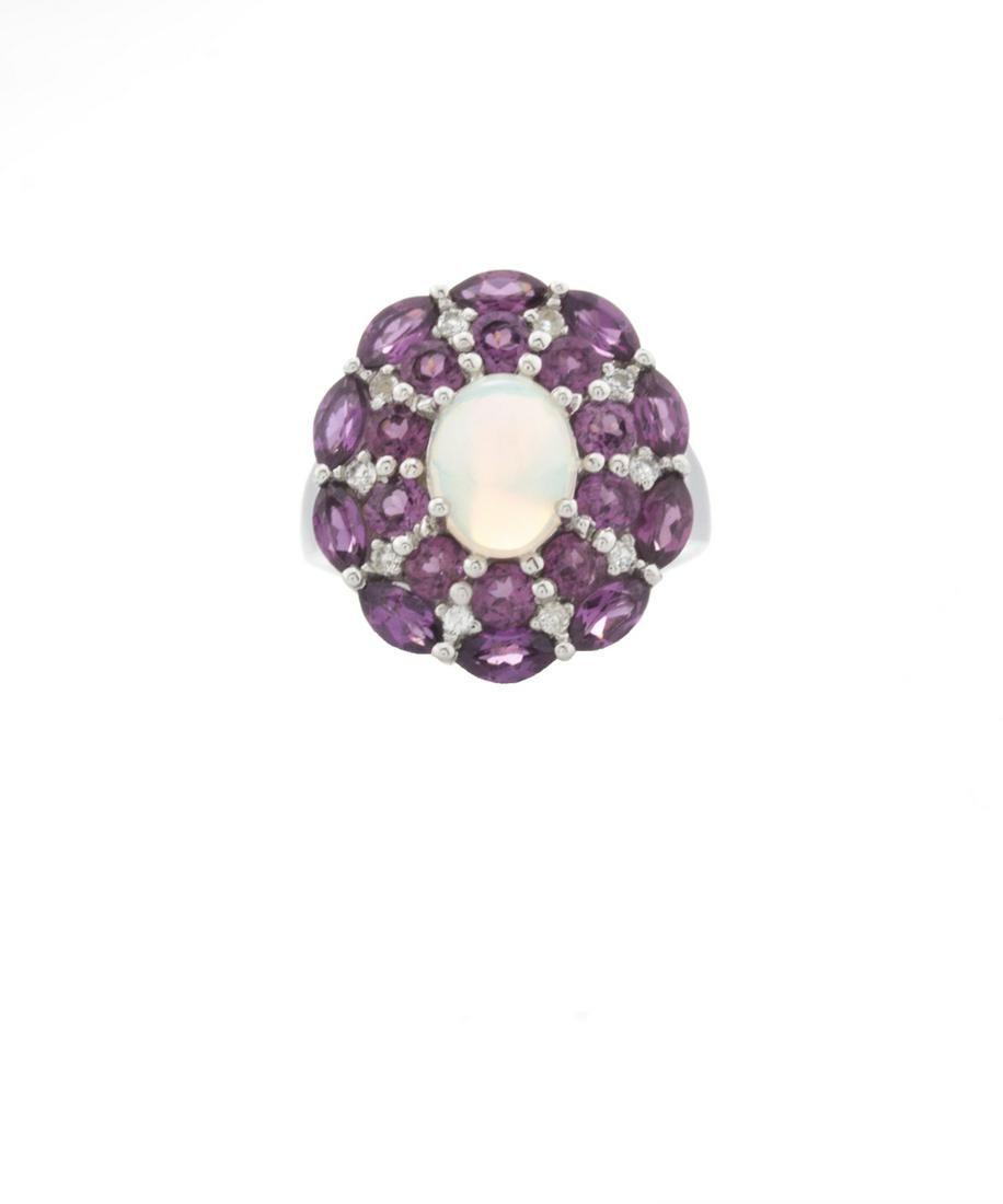 Silver Ethiopian Opal & Garnet Halo Ring-SZ 10