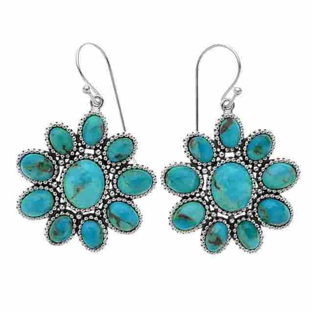 Sterling Silver Turquoise Flower Drop Earrings