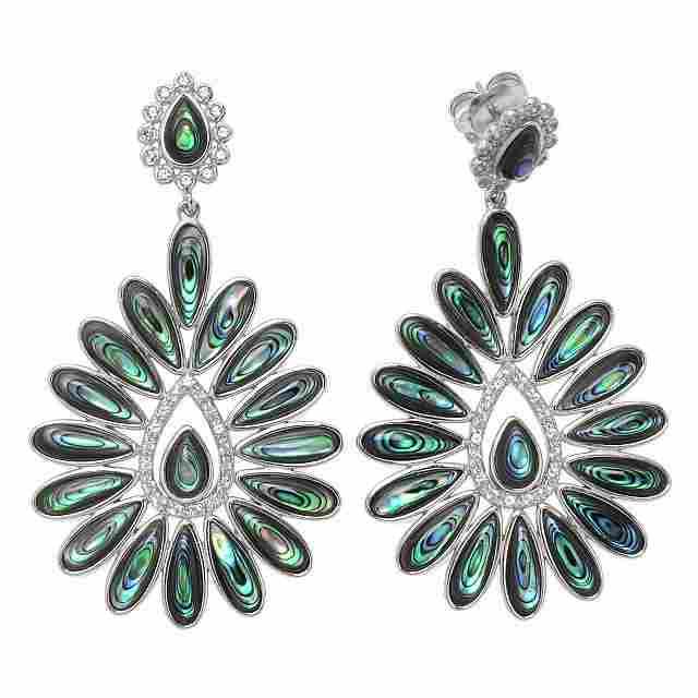 Silver Abalone & White Topaz Flower Drop Earrings