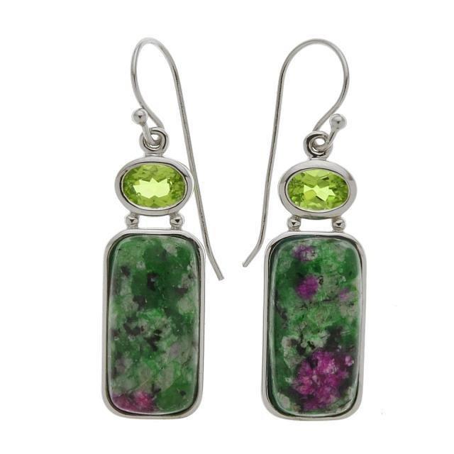 Silver Ruby Ziosite & Peridot Drop Earrings