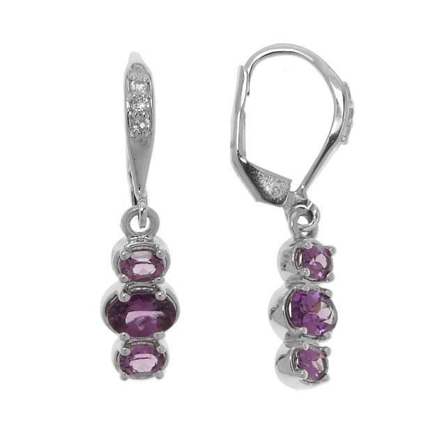 Silver 1.59ctw Purple Garnet & Topaz Earrings