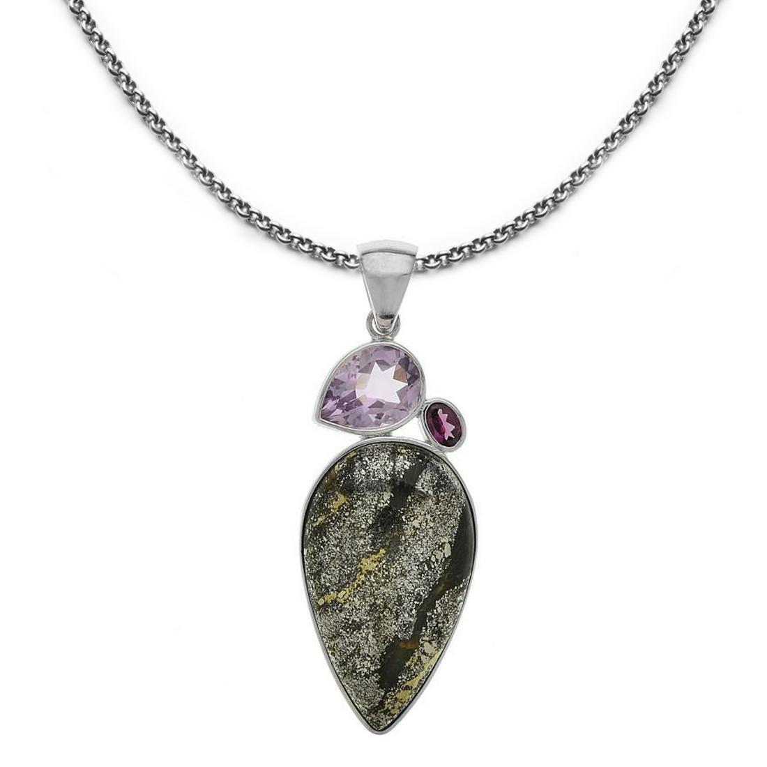 Silver Apache Gold & Gemstone 3-Stone Pendant