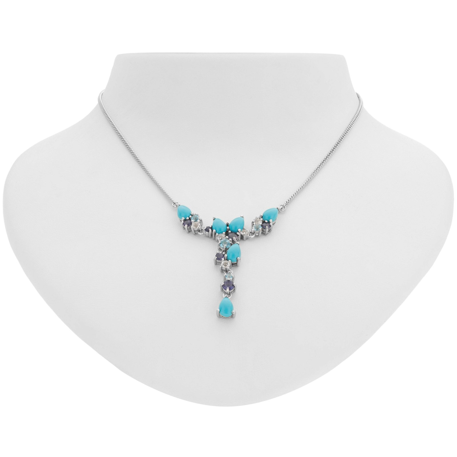 Sterling Silver Turquoise & Gemstones Y Necklace