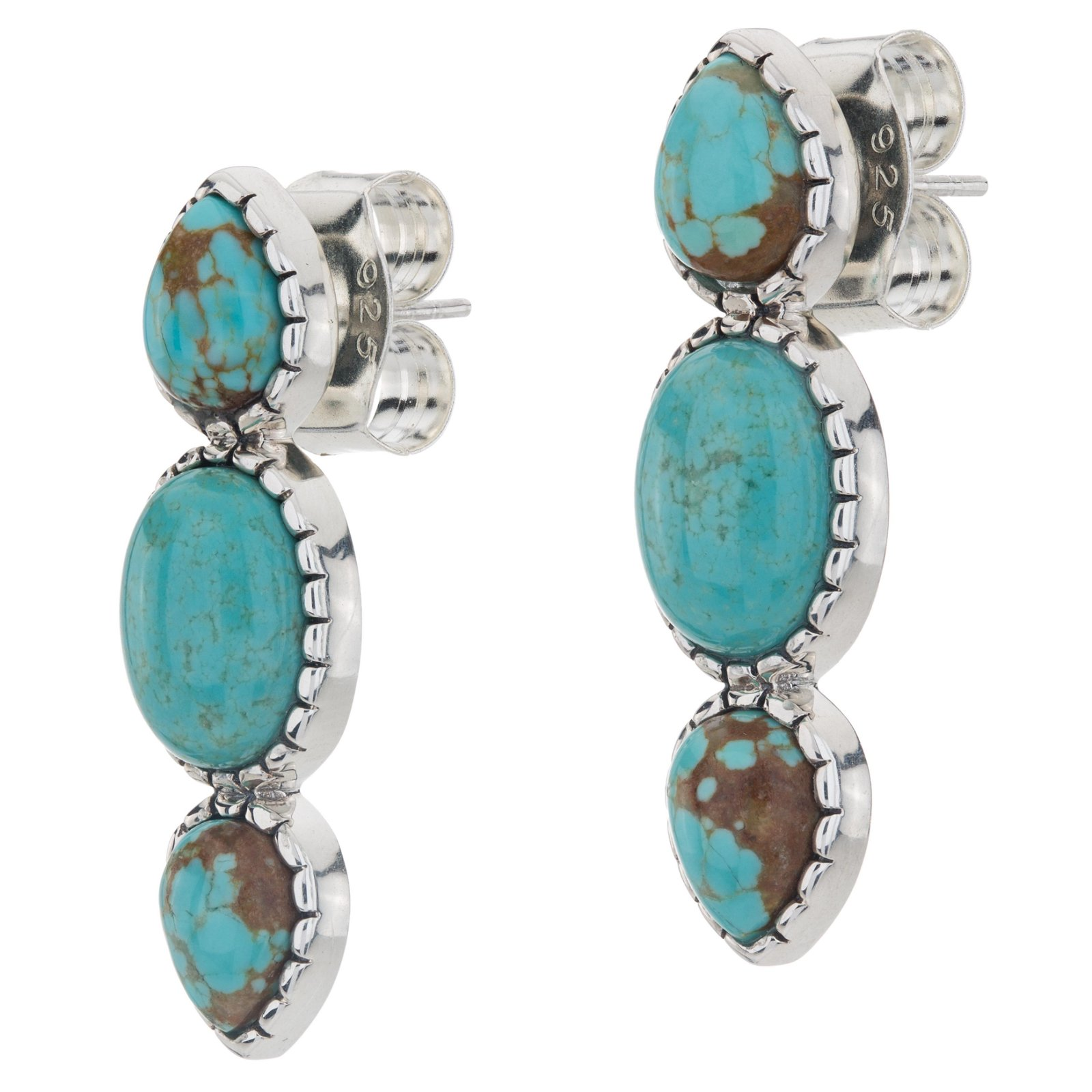 Sterling Silver Mine#8 Turquoise 3-Stone Earrings