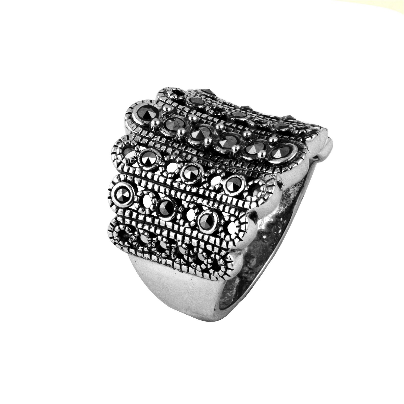 Sterling Silver Marcasite Beaded Ring-SZ 7