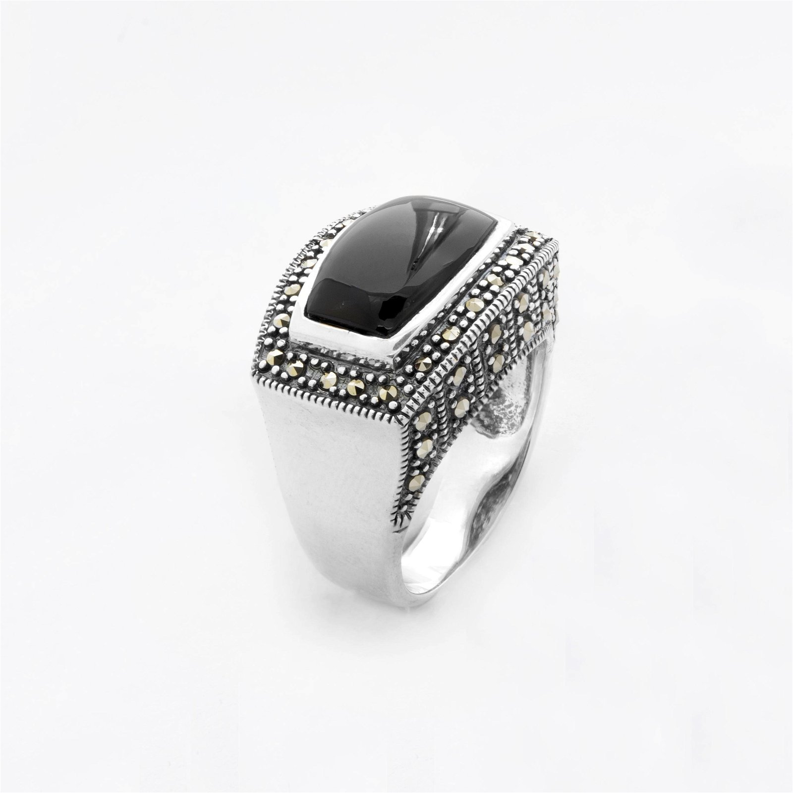 Sterling Silver Black Onyx & Marcasite Ring-SZ 9