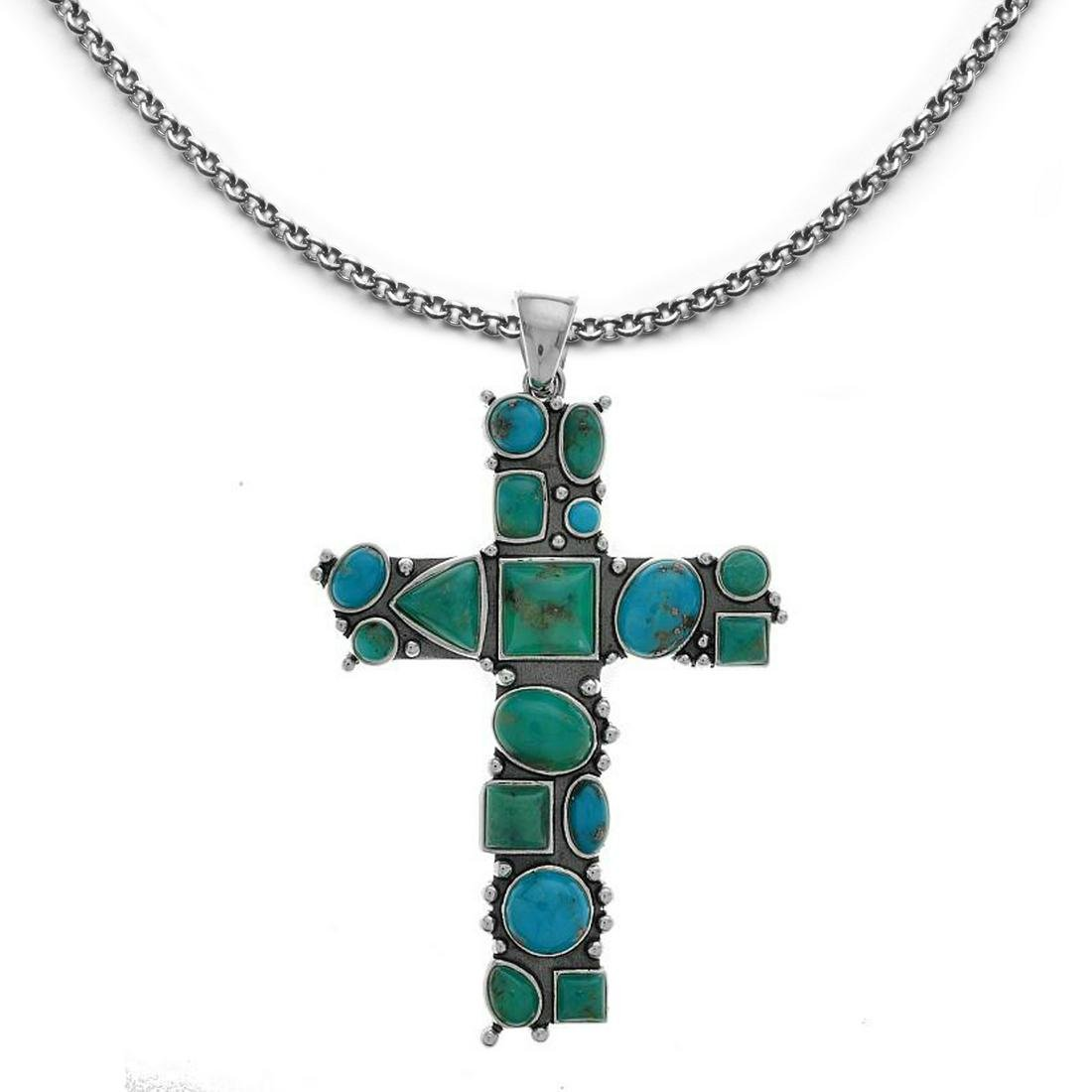 Sterling Silver Campo Frio Turquoise Cross Pendant