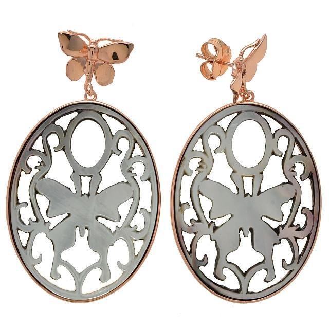 14K Rose Gold Vermeil Grey MOP Carved Earrings