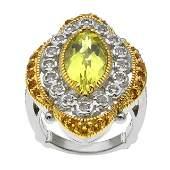Two-tone Lemon Quartz & Gemstones Halo Ring-SZ 8