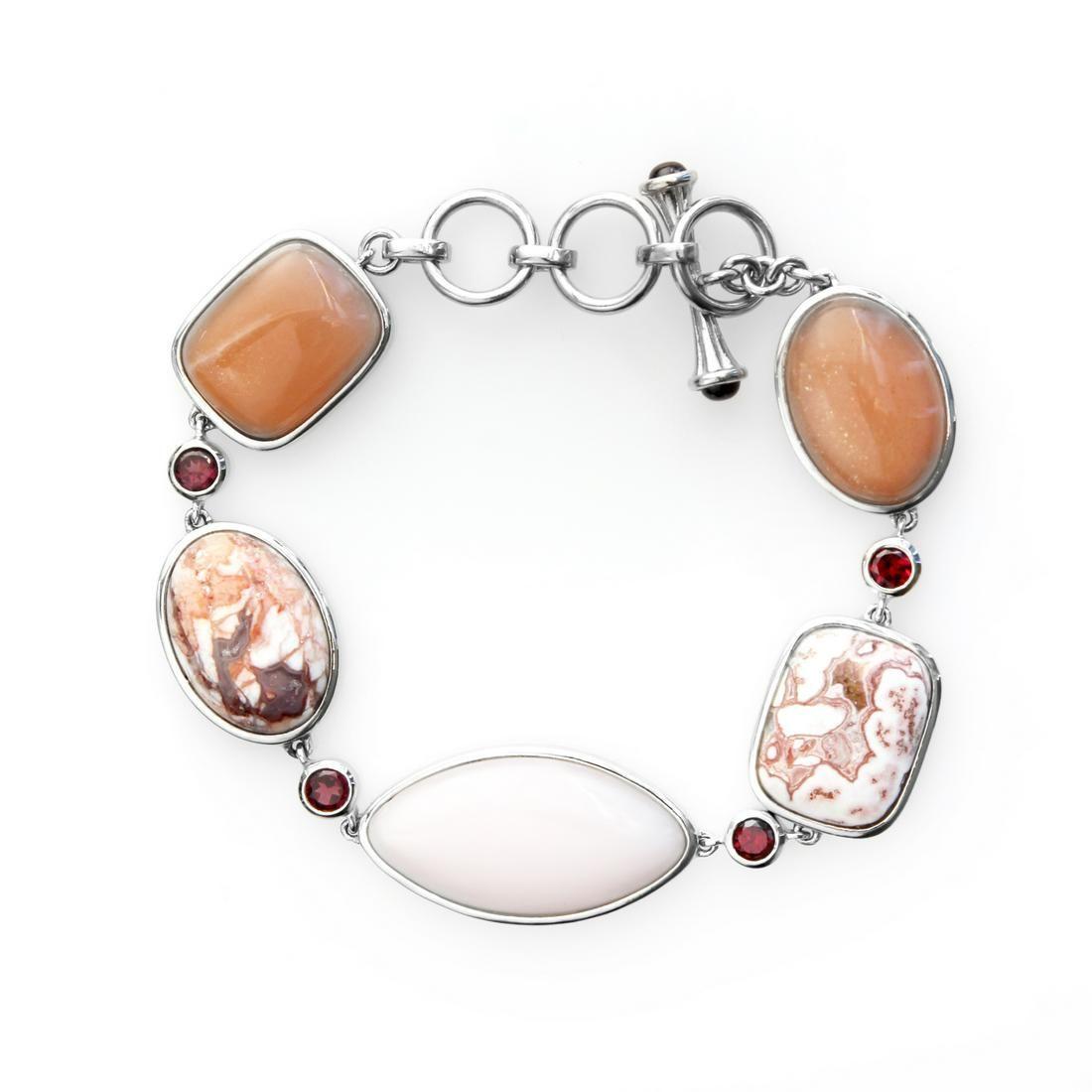 "Sterling Silver Multi Gemstone Toggle Bracelet 8.5"""