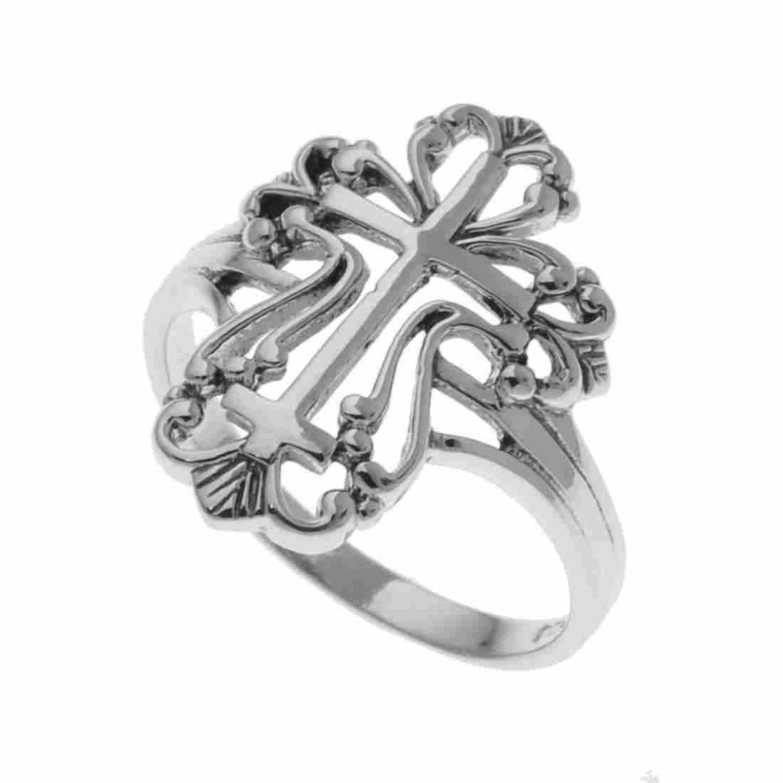 Sterling Silver Cross Filigree Ring-SZ 6