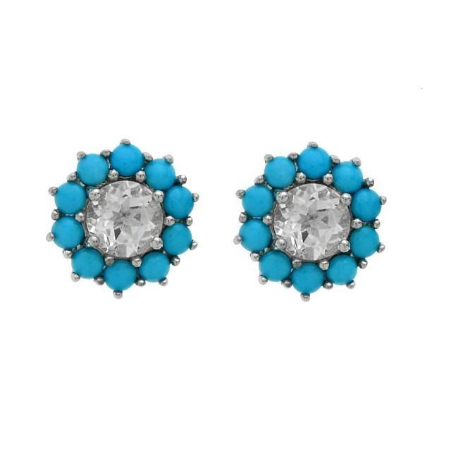 Silver Turquoise & White Topaz Halo Stud Earrings