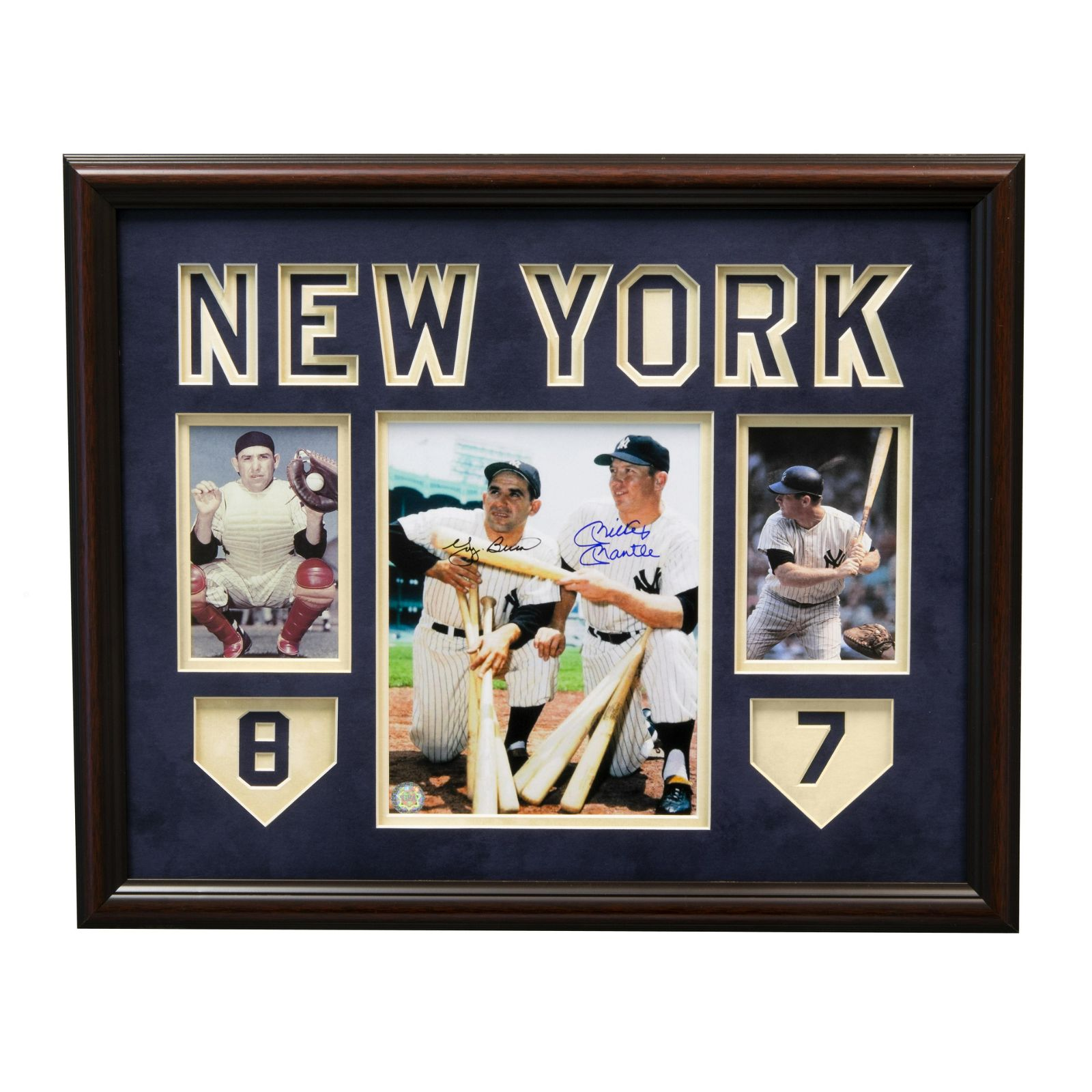 Yogi Berra & Mickey Mantle Yankee Signed Framed