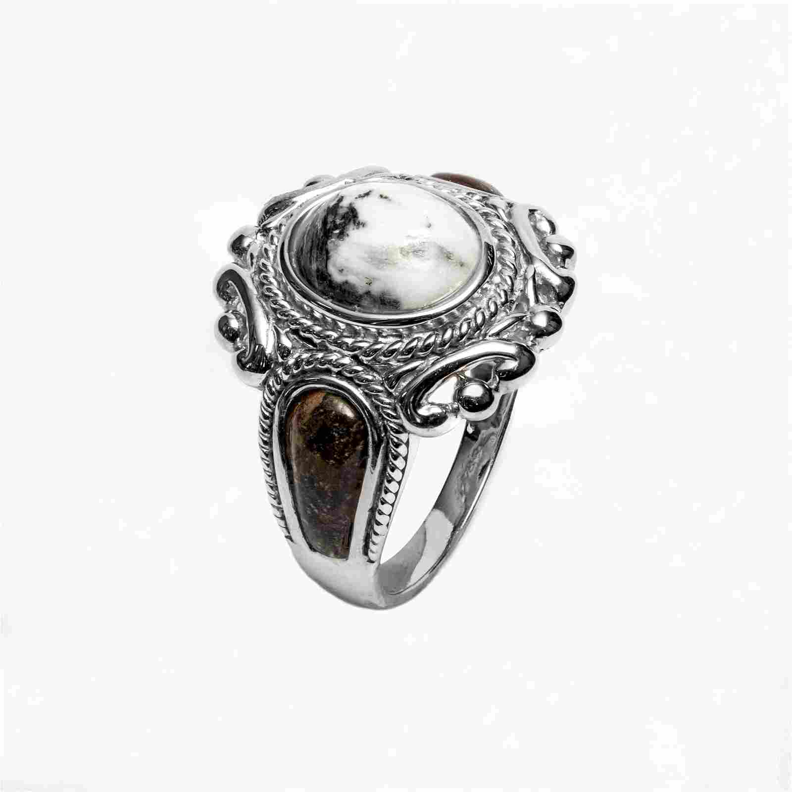 Sterling Silver White Buffalo Quartz Ring-SZ 9
