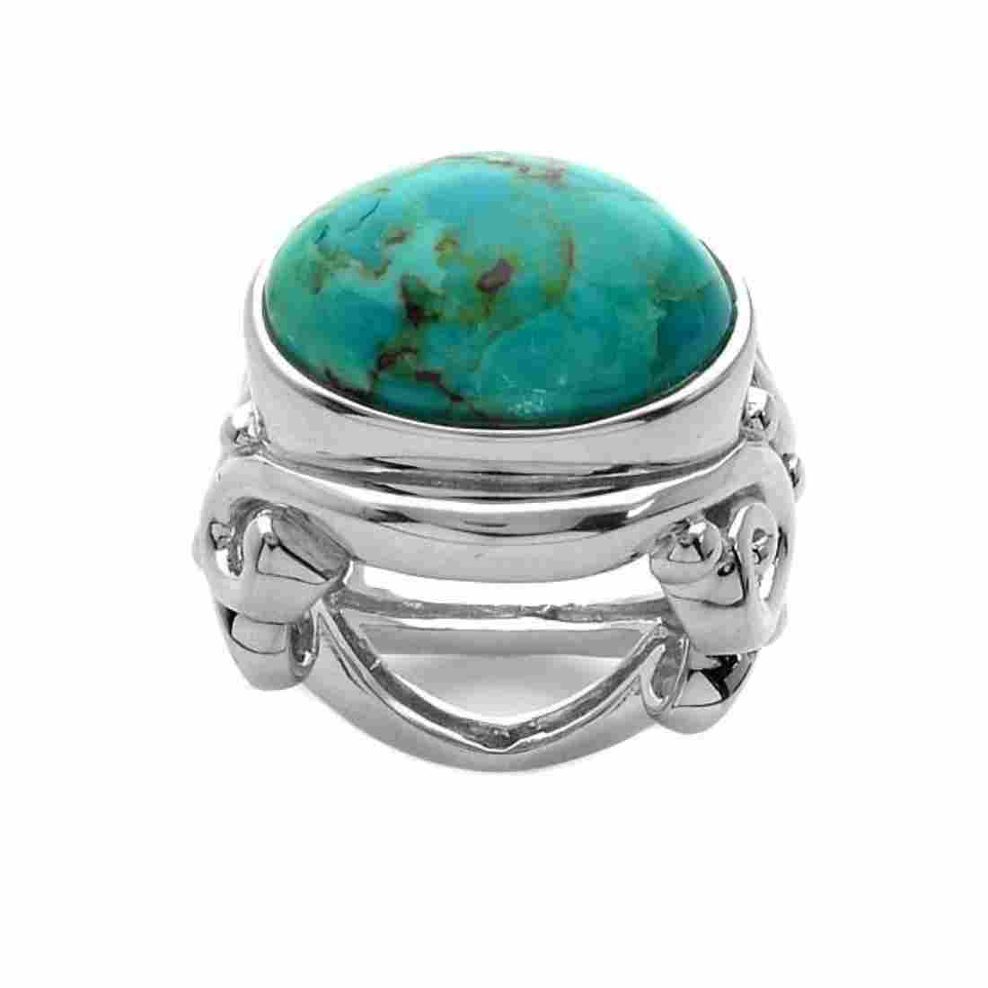 Sterling Silver Oval Turquoise East-West Ring-SZ 7