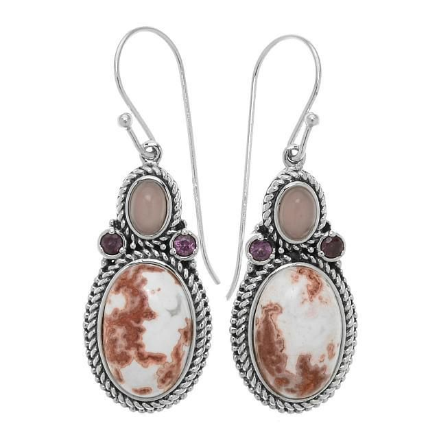 Silver Rosetta Jasper Rope Texture Drop Earrings