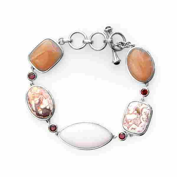 "Sterling Silver Multi Gemstone Toggle Bracelet 8"""