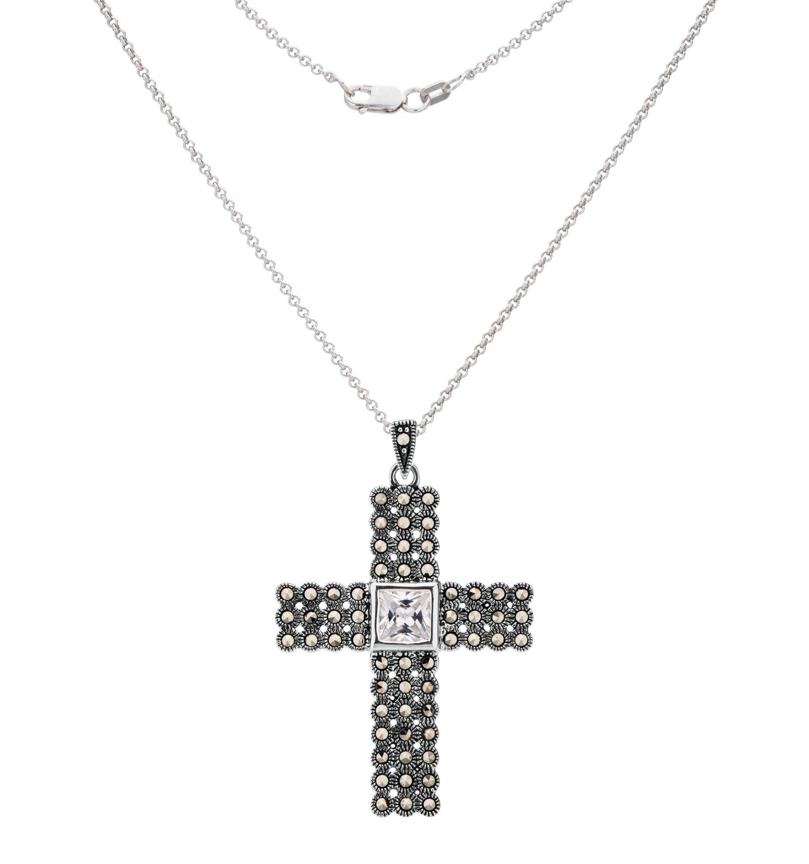 Sterling Silver Marcasite & CZ Cross Pendant