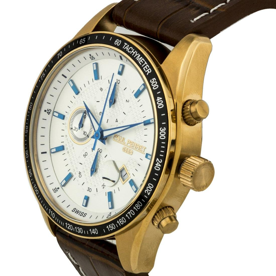 Men's Chronograph Watch Textured Leather Strap