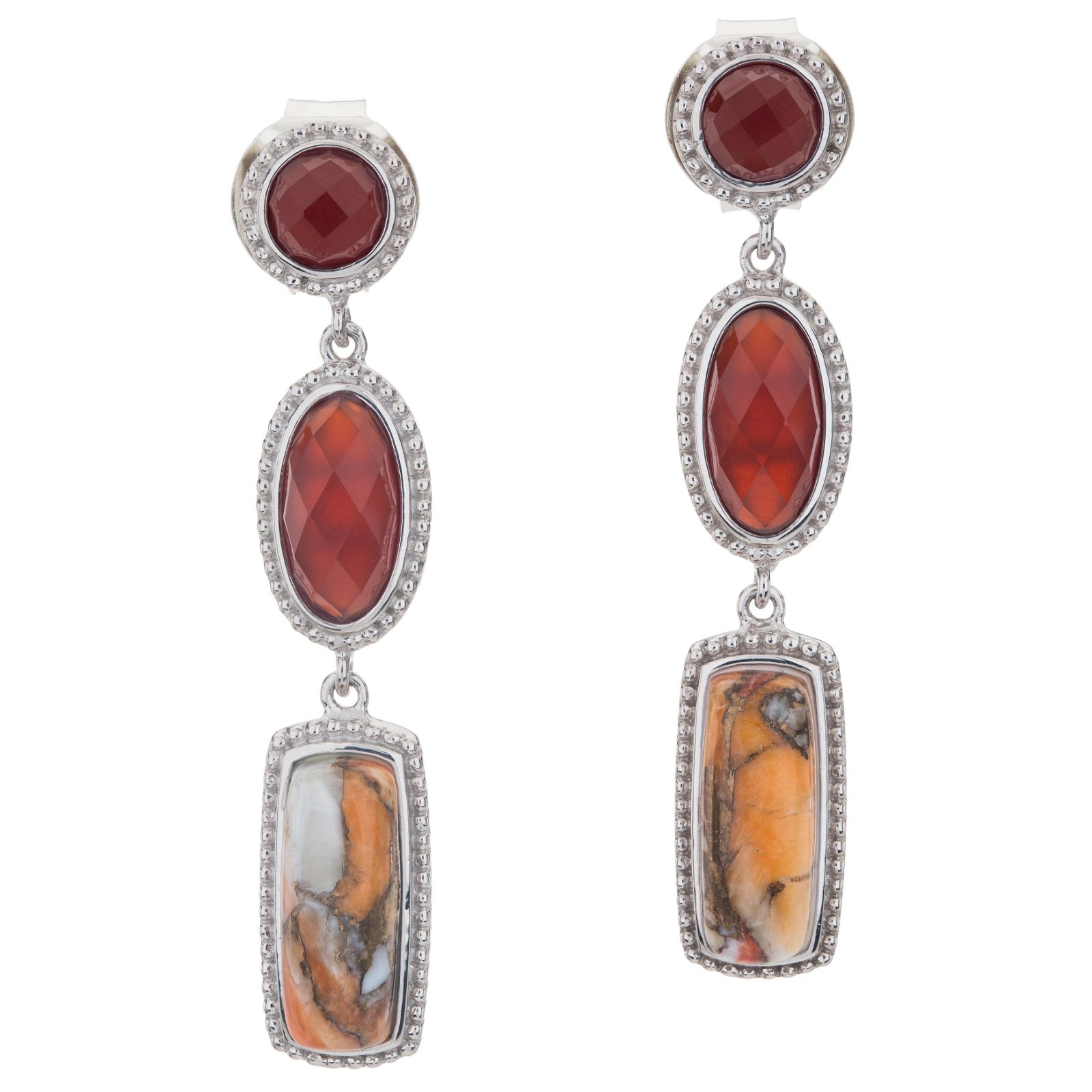 Silver Spiny, Agate & Chalcedony Drop Earrings