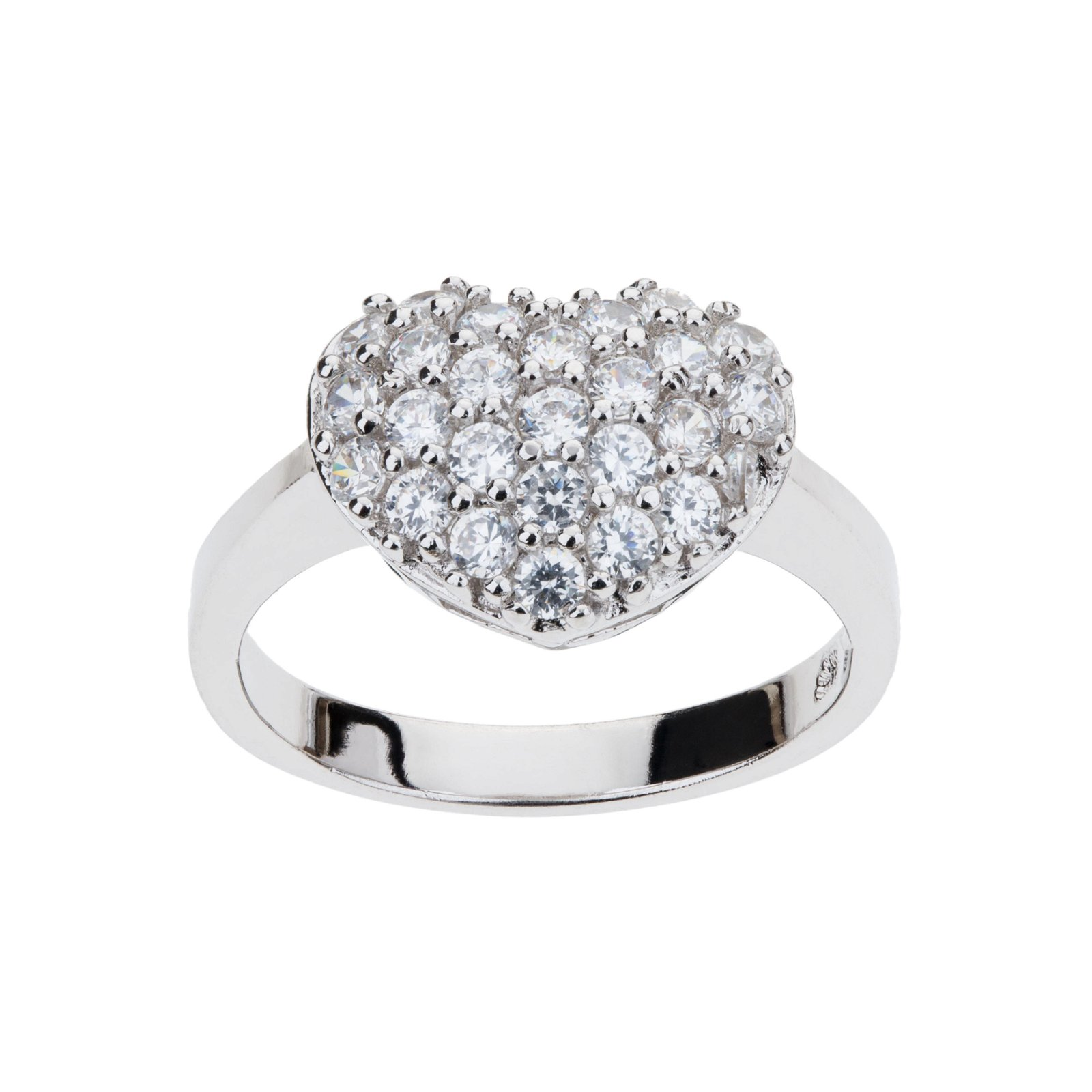 Fine Silver Plate Pave CZ Heart Ring