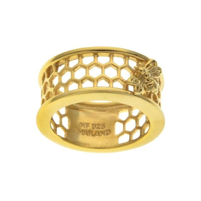 18K Gold Plated Diamond Accents HoneyComb Ring-SZ7