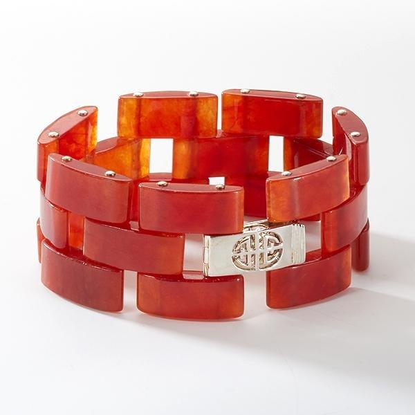 """Sterling Silver Red Jade Link Bracelet 7.5"""""""