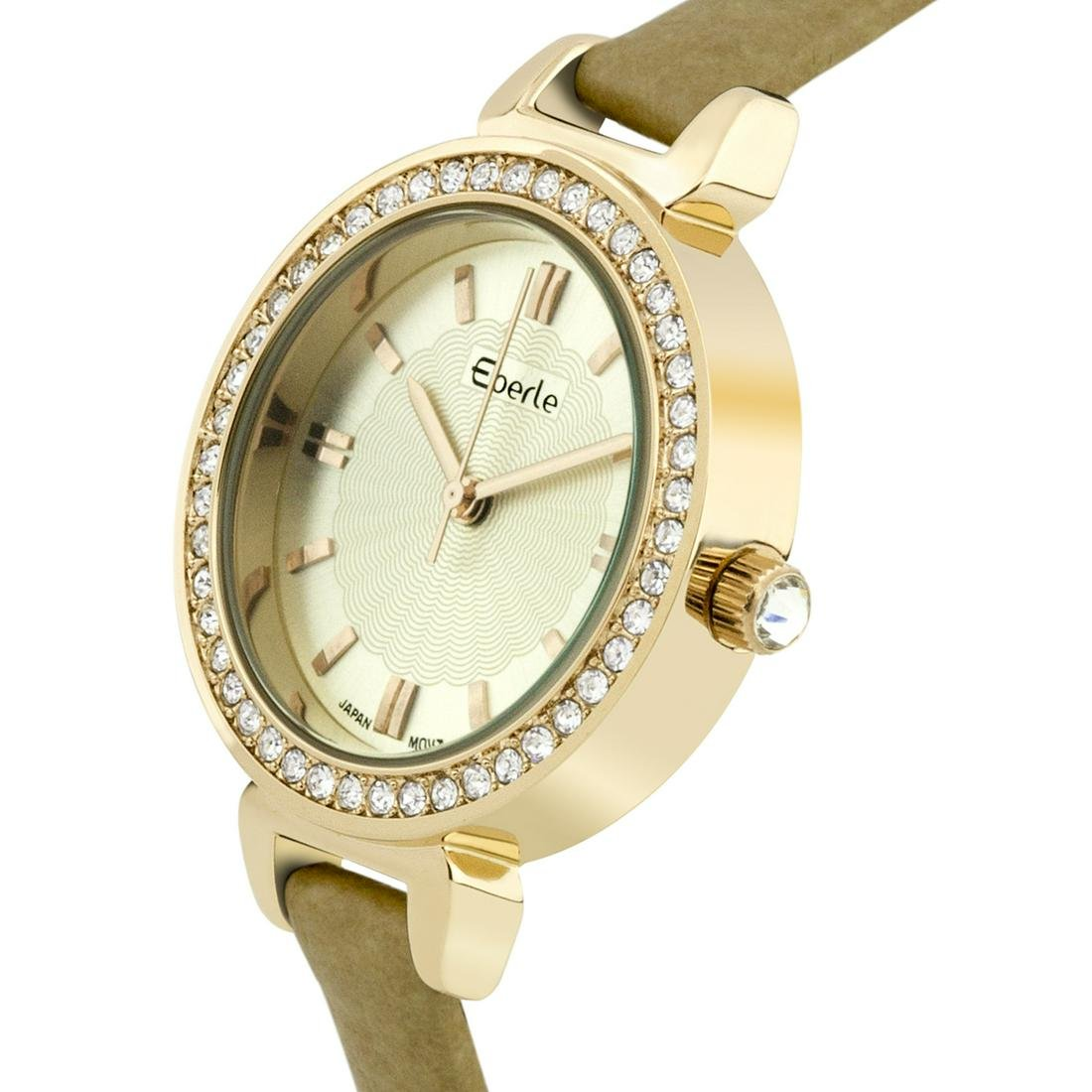 Eberle Classic Crystal Studded Bezel Ladies Watch