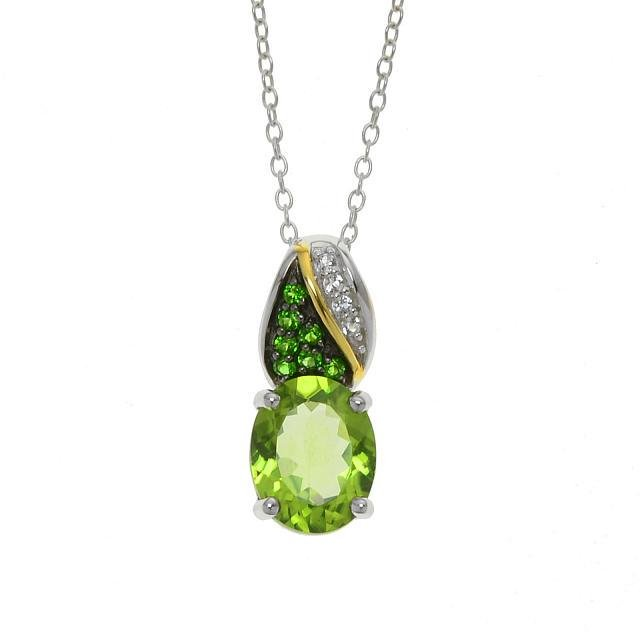 Sterling Silver Chrome Diopside & Peridot Pendant