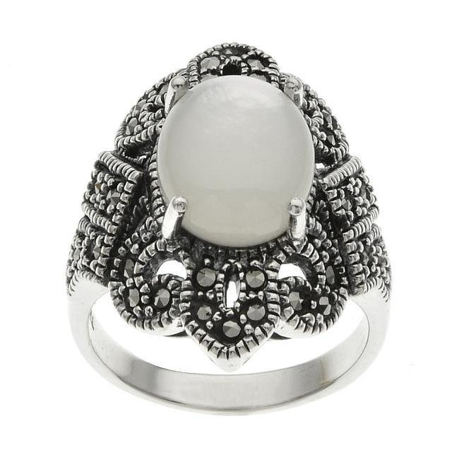 Sterling Silver White MOP & Marcasite Ring-SZ 8