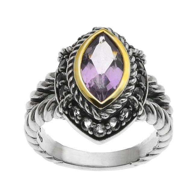 Silver Marquise Pink Amethyst & Topaz Ring-SZ 10