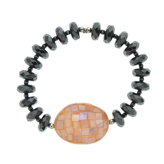 Silver Mosaic Pink MOP & Hematite Stretch Bracelet