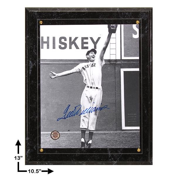 Ted Williams Boston Red Sox Signed 8x10 Plaque GFA