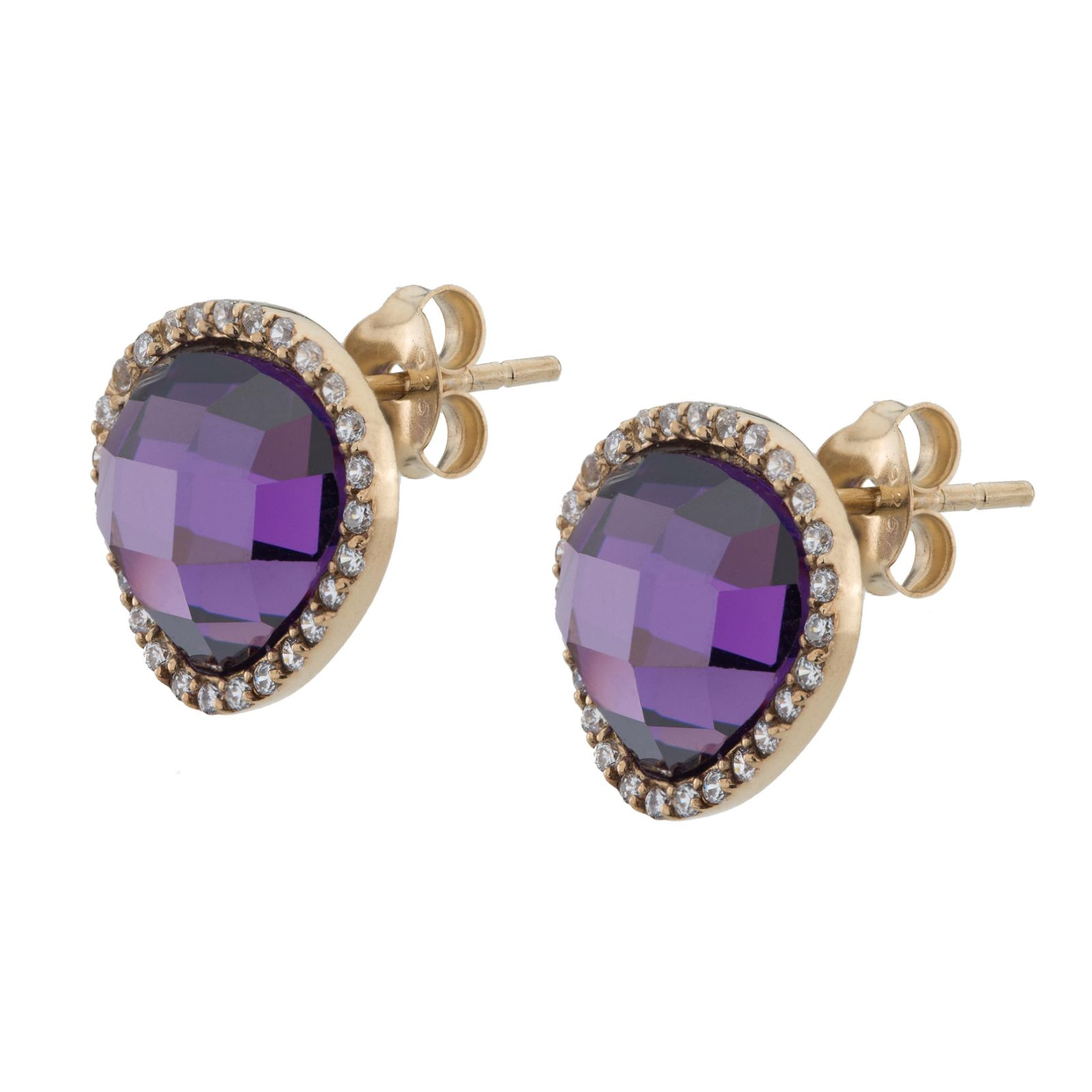 14K Gold over Silver Pave Halo Stud Earrings