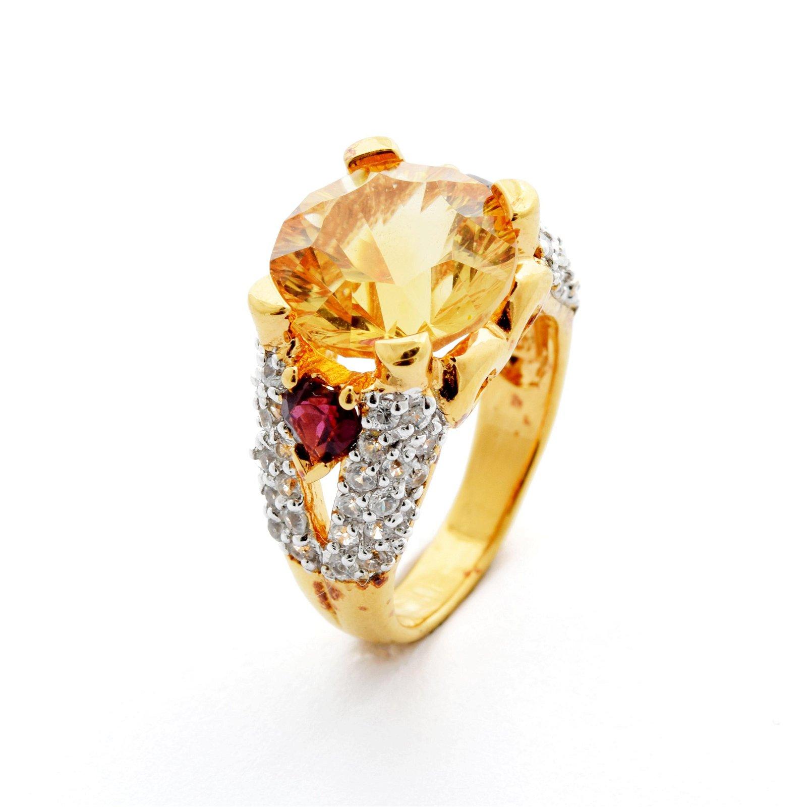 18K Gold over Silver Citrine & Garnet Ring-SZ 5