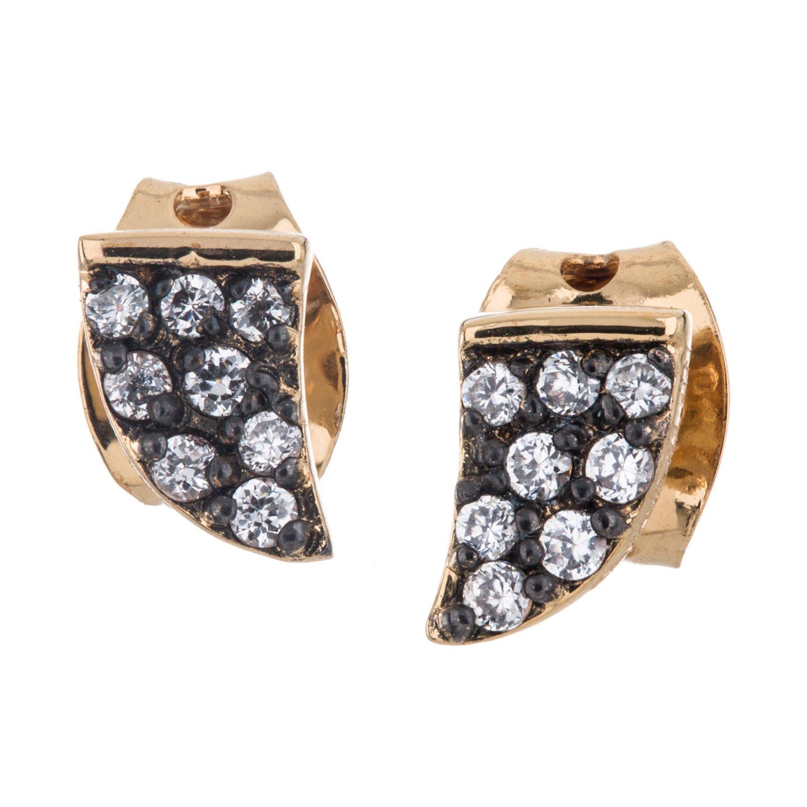14K Plate Simulated Diamond Pave Tusk Stud Earring