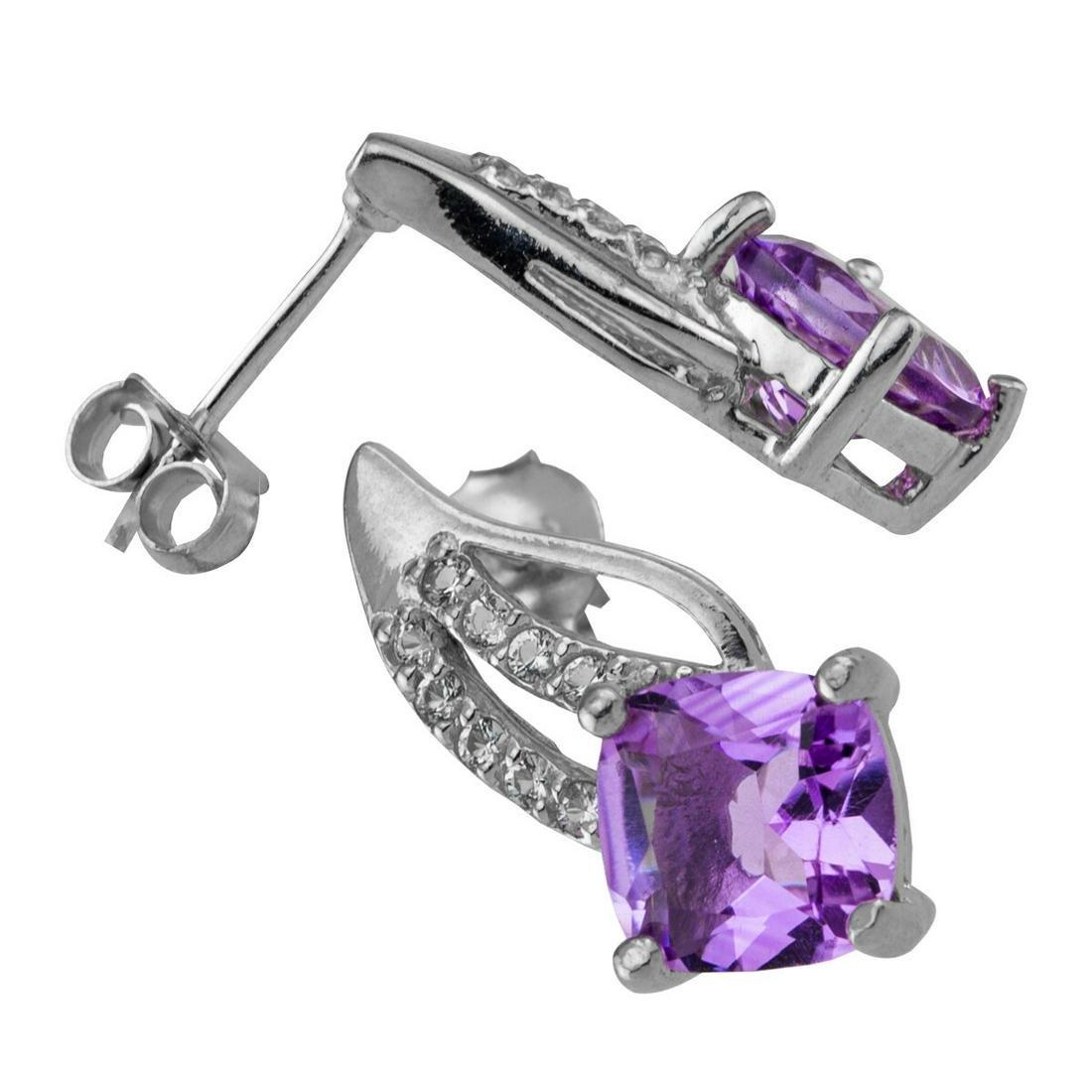 Sterling Silver Amethyst & Topaz Stud Earrings