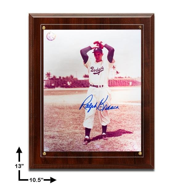 Ralph Branca Dodgers Signed 8x10 Plaque GFA