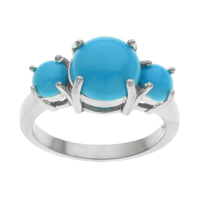 Silver Sleeping Beauty Turquoise Band Ring-SZ 8