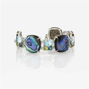 Silver Abalone Multi Gemstone Toggle Braceletx000D