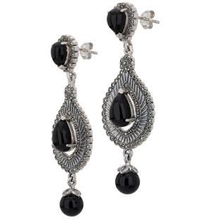 Sterling Silver Agate Marcasite Drop Earrings
