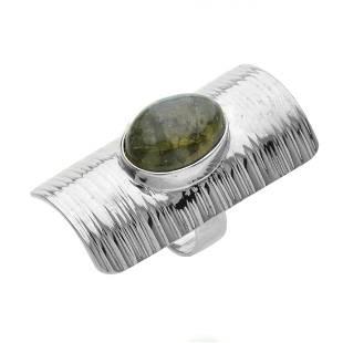Sterling Silver Labradorite Shield RingSZ 6